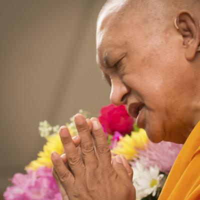 Lama Zopa Rinpoche at the Light of the Path retreat in North Carolina 2014. Photo: Roy Harvey.