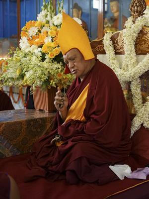Lama Zopa Rinpoche at Sera Je Monastery, India, December 2013.