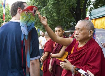 Animal blessing by Lama Zopa Rinpoche at Kurukulla Center, Massachusetts. Photo: Lorraine Greenfield.