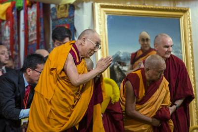 His Holiness the Dalai Lama, with Lama Zopa Rinpoche and Ven. Roger, greeting the crowd at Kurukulla Center, Massachusetts, USA, 2012. Photo: Cherrie Corey.