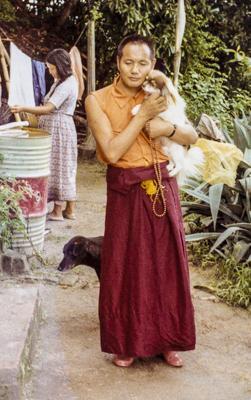 Lama Yeshe and his dog Dolma, Kopan Monastery, Nepal, 1972. Photo: Jan Willis.