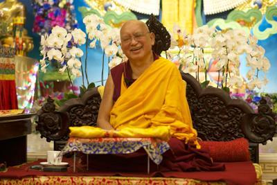 Lama Zopa Rinpoche at Amitabha Buddhist Centre, Singapore, 2016. Photo: Bill Kane.