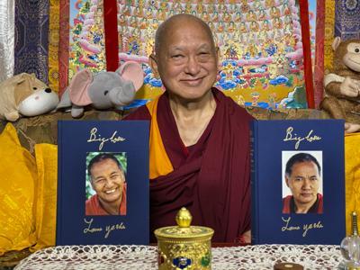 Lama Zopa Rinpoche with Big Love, Kopan Monastery, Nepal, April 2020. Photo: Ven. Roger Kunsang.