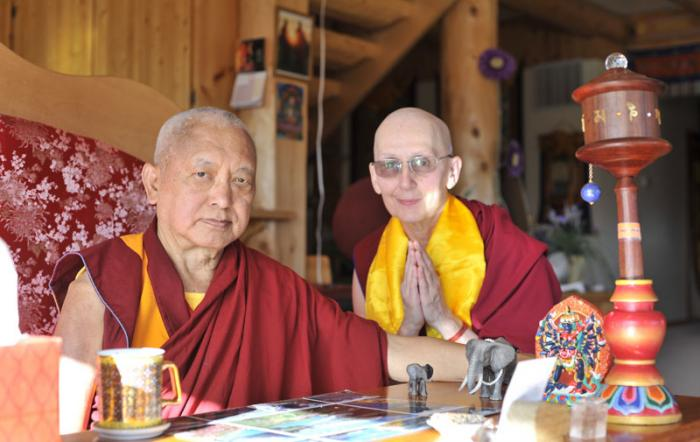 Lama Zopa Rinpoche and Ven. Munsel, 2016.