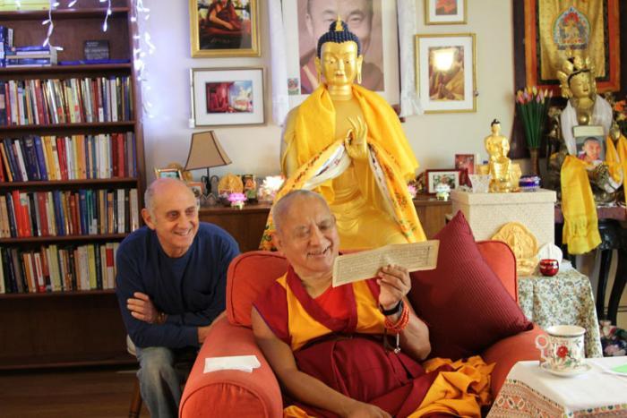 Lama Zopa Rinpoche and Nick Ribush, LYWA office, Lincoln, MA October 2012.