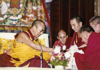 His Holiness the Dalai Lama with Lama Yeshe, Ven. Peljor and Nick Ribush at Tushita's second Dharma Celebration in New Delhi, 1982.