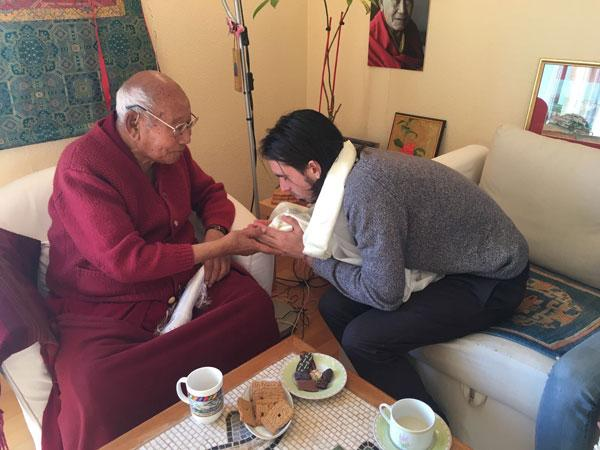 Tenzin Ösel Hita with Geshe Lobsang Tengye at Institut Vajra Yogini, France, February 2017.