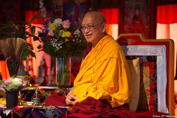 Lama Zopa Rinpoche at Kurukulla Center, Boston, USA. August 2018.  Photo: Amdo GT Photography.