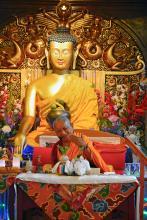 Lama Zopa Rinpoche at Jamyang Buddhist Centre, London, 2014. Photo: Robin Bath.