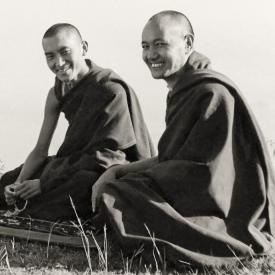 Lama Zopa Rinpoche and Lama Yeshe at Kopan, 1977.