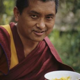 Lama Zopa Rinpoche at Tushita Meditation Centre, Dharamsala, 1987. Photo: Robin Bath.