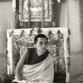 Lama Zopa Rinpoche teaching at the Ninth Meditation Course, Kopan Monastery, Nepal, 1976.