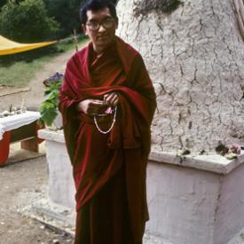 Lama Zopa Rinpoche at the cremation stupa of Lama Yeshe, Vajrapani Institute, California, 1984. Photo: Ricardo de Aratanha.