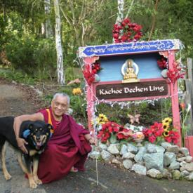Lama Zopa Rinpoche outside his home in Aptos, CA, 2014.