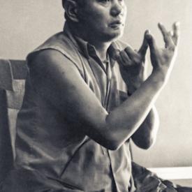 Lama Yeshe teaching at University of California, Santa Cruz, US, 1978. Photo: Jon Landaw.