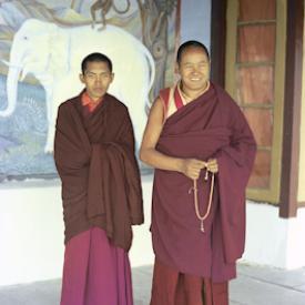 Lama Yeshe and Lama Zopa Rinpoche on the veranda at Tushita Retreat Centre, Dharamsala, India, 1973. From the collection of Adele Hulse.