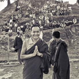 Lama Yeshe with students at the Fourth Meditation Course, Kopan Monastery, Nepal, 1973.