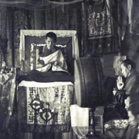 Lama Zopa Rinpoche and Lama Yeshe at the Seventh Meditation Course at Kopan Monastery, Nepal, 1974.