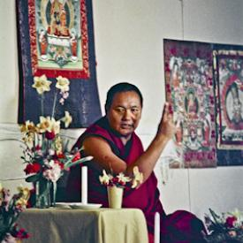 Lama Yeshe teaching in Olinda, Australia, July 1976.