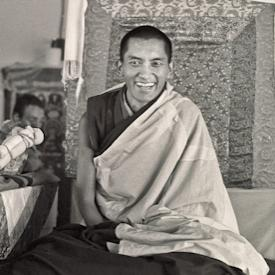 Lama Zopa Rinpoche teaching during a month-long course at Chenrezig Institute, Australia, 1976.