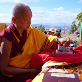 Rinpoche offering a mandala at Buddha Amitabha Pure Land, USA, October 2016. Photo: Lobsang Sherab.