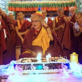 Monks wishing Lama Zopa Rinpoche a happy birthday at Kopan Monastery, Nepal, December 2016. Photo: Ven. Lobsang Sherab.