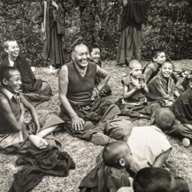 Lama Yeshe and the Mount Everest Centre boys enjoying a picnic at the Hindu water gardens, Kathmandu, Nepal, 1979.