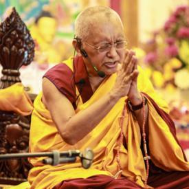 Lama Zopa Rinpoche teaching in Singapore, 2010. Photo: Tan Seow Kheng.