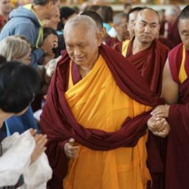 Lama Zopa Rinpoche at Sera Je Monastery, Mysore, India, 2013-2014. Photo: Bill Kane.