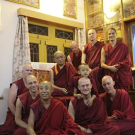 Lama Zopa Rinpoche with Sangha at IMI House, Sera Je Monastery, India, in December 2013. Photo: Ven. Thubten Kunsang (Henri Lopez).