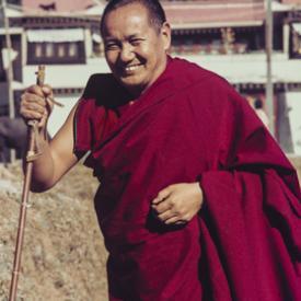 Lama Yeshe with his ski pole, Ninth Meditation Course, Kopan Monastery, Nepal, 1976.