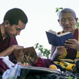 Lama Zopa Rinpoche and Geshe Legden, Chenrezig Institute, Australia, 1980.