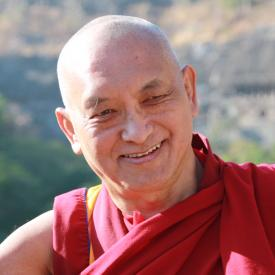 Lama Zopa Rinpoche near Ajanta caves, India, November 2008. Photo: Ven. Roger Kunsang.
