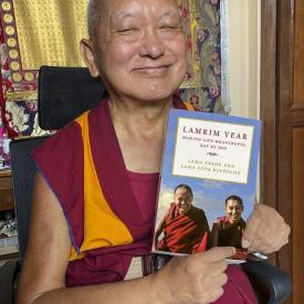 Lama Zopa Rinpoche with Lamrim Year, 2021. Photo: Roger Kunsang.